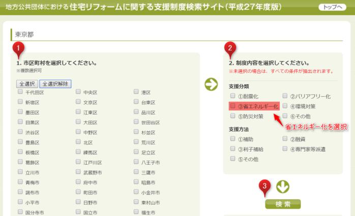 住宅リフォームに関する支援制度検索サイトの使い方